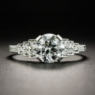 Art Deco Style 1.18 Carat European-Cut Diamond Engagement Ring - GIA G VS2 - 1