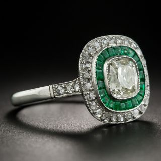 Art Deco Style 1.20 Carat Diamond and Calibre Emerald Ring