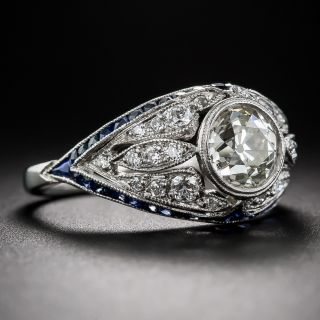 Art Deco Style 1.46 Carat Diamond and Calibre Sapphire Ring - 1