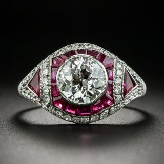 Art Deco 1.58 Carat Diamond and Ruby ngagement Ring - GIA J SI1 - 2