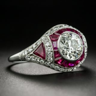 Art Deco Style 1.58 Carat Diamond and Ruby Engagement Ring - GIA J SI1