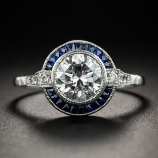 Art Deco Style 1.64 Carat Diamond Platinum Sapphire Engagement Ring - GIA H VVS2 - 1