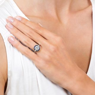 Art Deco Style 1.64 Carat Diamond Platinum Sapphire Engagement Ring - GIA H VVS2