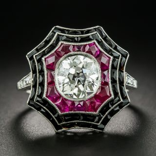 Art Deco Style 1.64 Carat Diamond, Ruby and Black Onyx Spider Web Ring - 1