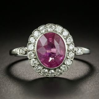 Art Deco Style 1.76 Natural No-Heat Pink Sapphire and Diamond Ring - 2