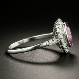 Art Deco Style 1.76 Natural No-Heat Pink Sapphire and Diamond Ring