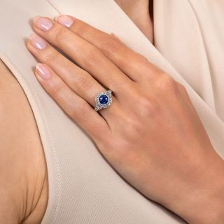 Art Deco Style 1.78 Carat Ceylon Sapphire and Diamond Ring
