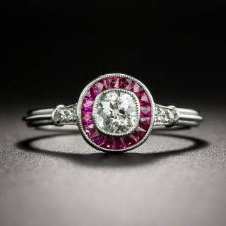 Art Deco Style .37 Carat Diamond and Ruby Halo Ring - 2