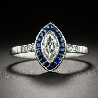Art Deco Style .37 Carat Marquise Diamond and Sapphire Halo Ring - 2