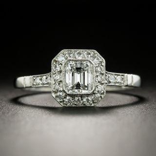 Art Deco Style .49 Carat Emerald-Cut Diamond Engagement Ring - 3