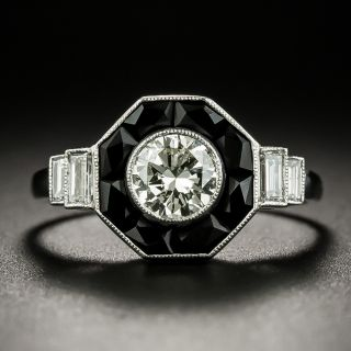 Art Deco Style .50 Carat Diamond and Onyx Ring - 3