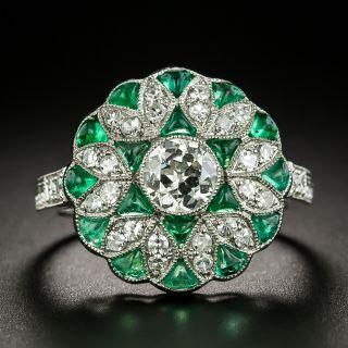 Art Deco Style .55 Carat Diamond and Calibre Emerald Ring - 2