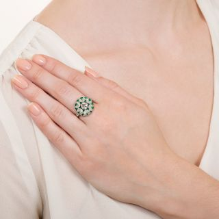 Art Deco Style .55 Carat Diamond and Calibre Emerald Ring