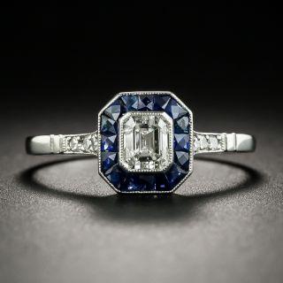 Art Deco Style .55 Carat Emerald-Cut Diamond and Sapphire Halo Ring - 2
