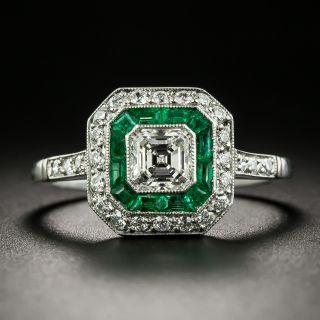 Art Deco Style .64 Carat Diamond and Emerald Engagement Ring - 2