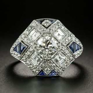 Art Deco Style .77 Carat Diamond and Sapphire Ring - 2