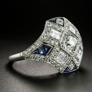 Art Deco Style .77 Carat Diamond and Sapphire Ring