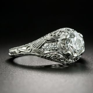 Art Deco Style .78 Carat Diamond Engagement Ring - GIA I VS1