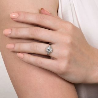 Art Deco Style .82 Carat Diamond Halo Ring