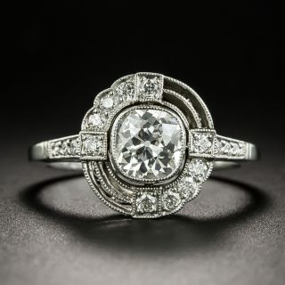 Art Deco Style .90 Carat Diamond Engagement Ring - 2