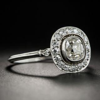 Art Deco Style .93 Carat Antique Cushion-Cut Diamond Platinum Halo Ring