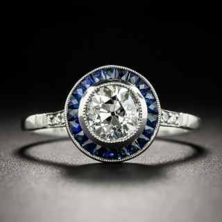 Art Deco Style .98 Carat Diamond and Sapphire Halo Ring -  GIA G VS2 - 3