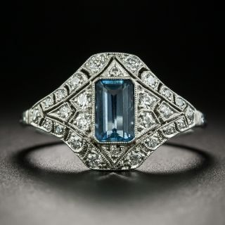 Art Deco Style Aquamarine and Diamond Ring - 2