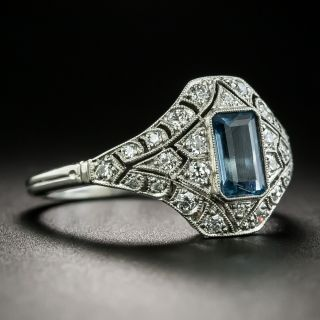 Edwardian Style Aquamarine and Diamond Ring