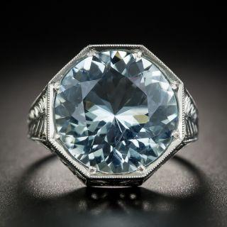 Art Deco Aquamarine Platinum Ring - 1