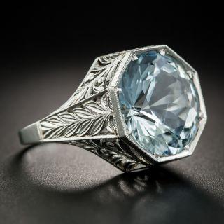 Art Deco Style Aquamarine Platinum Ring