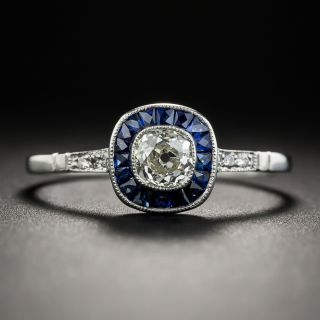 Art Deco Style Cushion-Cut Diamond and Sapphire Engagement Ring