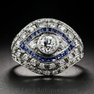 Art Deco Style Diamond and Calibre Sapphire Dome Ring