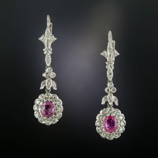 Art Deco Style Diamond Drop Earrings with Pink Sapphires - 2