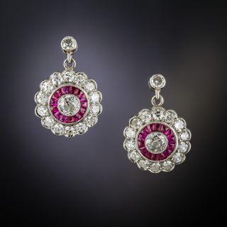 Art Deco Style Diamond Ruby Platinum Circle Dangle Earrings - 1