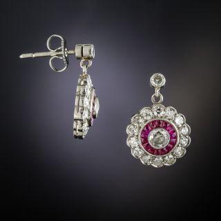Art Deco Style Diamond Ruby Platinum Circle Dangle Earrings