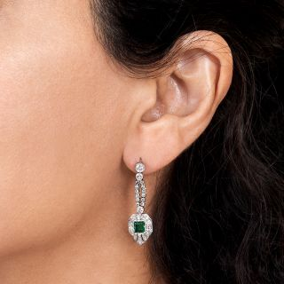 Art Deco Style Emerald and Diamond Drop Earrings