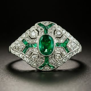 Art Deco Style Emerald and Diamond Ring - 3