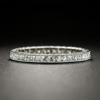 Art Deco Style French-Cut Diamond Platinum Eternity Band - Size 6 3/4