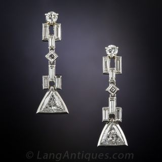 Art Deco Style Geometric Diamond Drop Earrings - 1