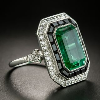 Art Deco Style Green Glass, Black Onyx and Diamond Ring