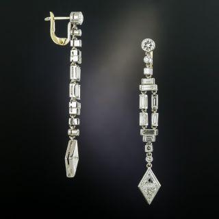 Art Deco Style Long Diamond Dangle Earrings - 2