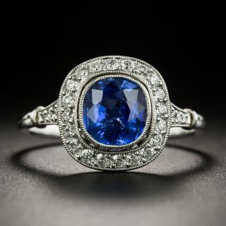 Art Deco Style No-Heat 1.56 Carat Sapphire and Diamond Ring -  GIA - 3