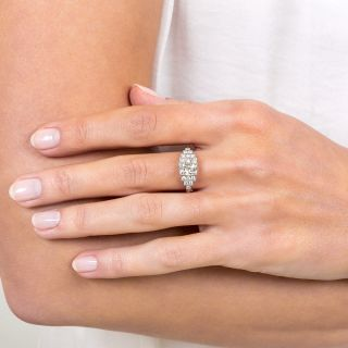 Art Deco Style 1.59 Carat Diamond Platinum Engagement Ring - GIA K VS2