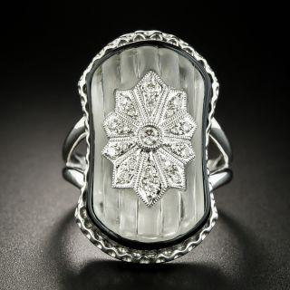 Art Deco Style Rock Crystal, Onyx and Diamond Ring - 3