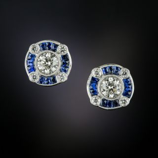 Art Deco Style Sapphire and Diamond Earrings - 3