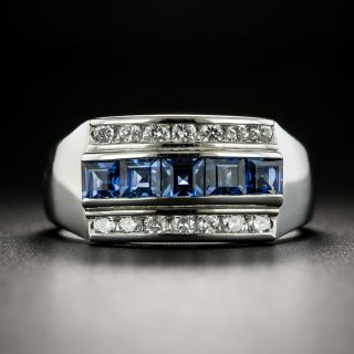Art Deco Style Three-Row Sapphire and Diamond Band Ring - 2