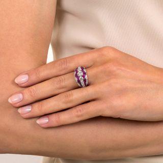 Art Deco Style Three-Stone Diamond and Calibre Ruby Ring