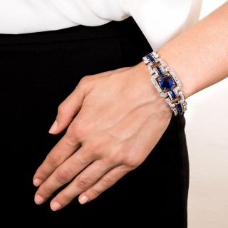 Art Deco Sugarloaf Sapphire and Diamond Bracelet