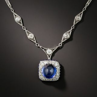 Art Deco Synthetic Cabochon Sapphire and Diamond Necklace - 3