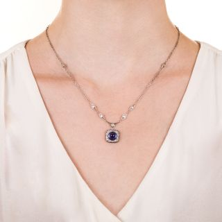 Art Deco Synthetic Cabochon Sapphire and Diamond Necklace